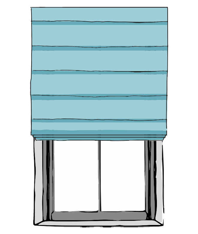 Flat Fold Roman Shades With Front Slats