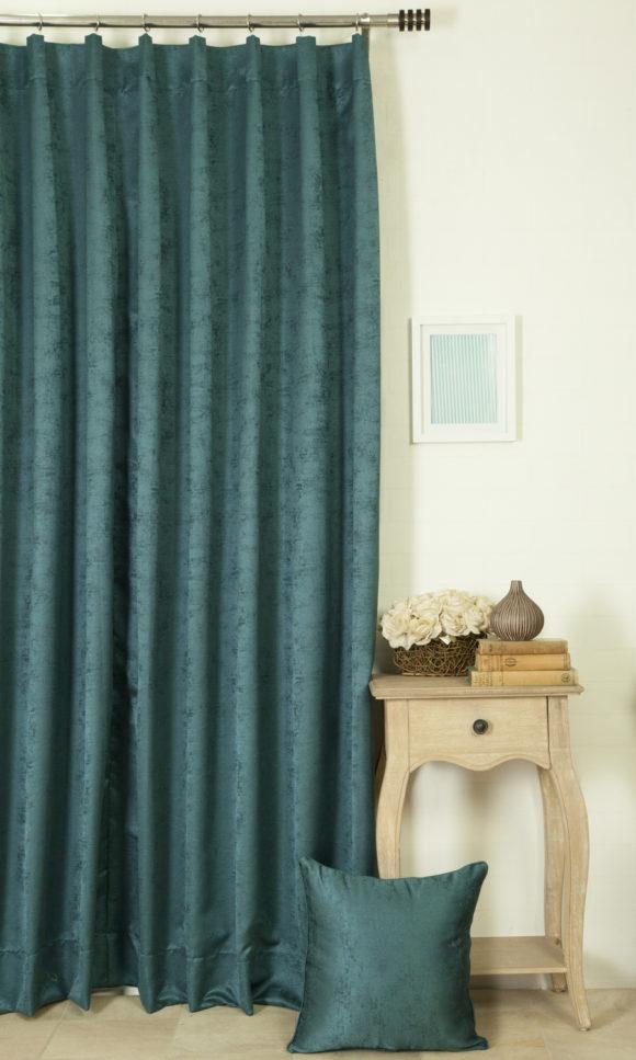 Teal blue curtains